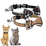 kingkindsun Quick Release Kattenhalsband met Bell en vlinderdas, schattige geruite patronen, 2 Pack veiligheid kattenhalsbanden (zwart + bruin)
