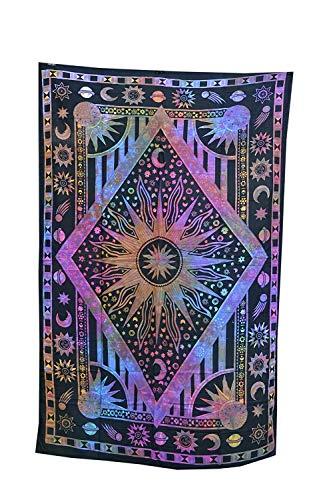 WORLD WIDE KART Tapisserie/Wandbehang, Motiv Sonne, Mond, Boho, Hippie, Strand, Blau