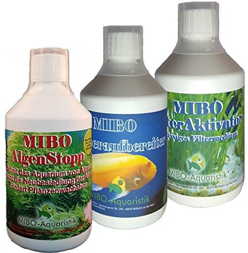MIBO Spar Set Aquarium Pflege 3 x 500ml +Algenradierer Wasseraufbereiter Algenvernichter Filteraktivator