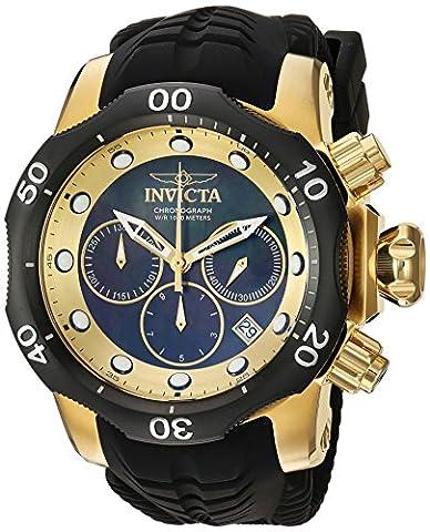 Invicta Homme 'Venom' à quartz en acier inoxydable et en silicone montre décontracté, couleur: noir (modèle: 22359)