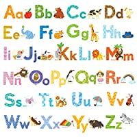 Decowall Watercolour Animal Alphabet Kids Wall Stickers Wall Decals Peel and Stick Removable Wall Stickers for Kids Nursery Bedroom Living Room (1608S / 8003