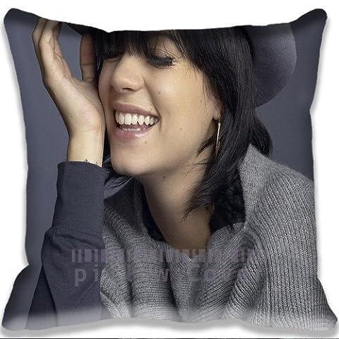 actor actress celebrity Lily Allen Fun Face Cushion Cover Home Decorative Throw Pillow Case Cotton and Polyester Pillow Sham for Sofa