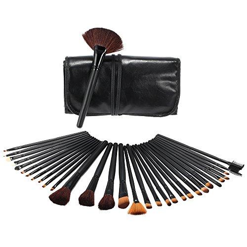 Abody 32 PCS pinceaux de maquillage brosse cosmétiques avec pochette noir pour la Fondation Concealer fard à paupières Sourcils Blush Lip Mascara