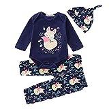 i-uend 2019 Babyspielanzug Jumpsuit Sets - Infant Kleinkind Jungen Mädchen Floral Cartoon Fox Romper Hose Hut Outfits Set für 3-24 Monate