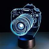 XYD 3D visuelles Stereo-Licht, Unterhaltungskamera LED Bunte Fernbedienung Nachtlicht Nachtlicht Acryl Tischlampe