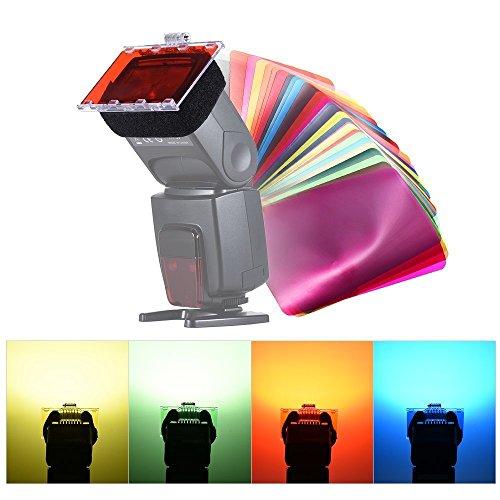 Apore Universal 30 Stück Farbfolien Blitz Gele farbige Beleuchtungs Gele Farbe Speedlite Farbfilter Set für Canon Nikon Sony Pentax Olympus Speedlite (30Pcs Farbgel-Filter)