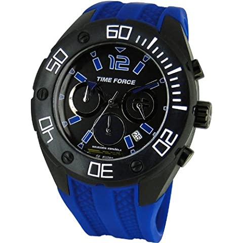 Reloj TIME FORCE Caballero SELECCIÓN ESPAÑOLA. Calendario Crono Correa de caucho azul TF-4145M13