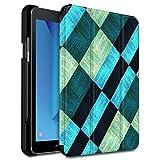 Infiland Galaxy Tab S3 9,7 Etui Housse avec Porte-Stylo Protecteur, Coque Smart Shell Case avec Fermeture magnétique pour Samsung Galaxy Tab S3 9.7 Pouces (SM-T820/T825), Carrés de Bleu&Vert
