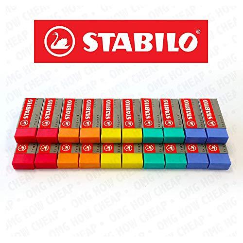 STABILO Legend Kunststoff Radierer, verschiedene Farben-Box von 20