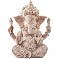Kitchnexus Ganesh - Figura decorativa de Buda con piedra arenisca, diseño de elefante