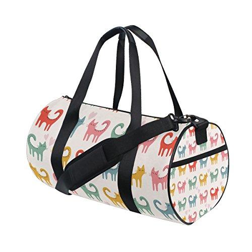 TIZORAX Colorful Katzen Kätzchen Fitnessraum Duffle Bag Drum Tote Reisetasche Rooftop Rack Tasche (Kätzchen Tote Bag)