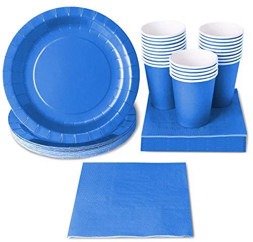 Einweggeschirr 24er Set Pappgeschirr Dinnerparty Zubehör für 24 Gäste inkl. Pappteller, Servietten und Becher blau