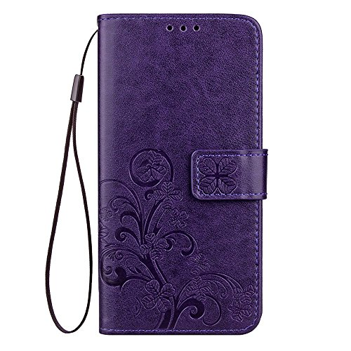 """MOONCASE iPhone X Coque, [Embossed Pattern] Support Flip Cuir Housse Anti-choc TPU Protection Etui Cases pour iPhone X 5.8"""" Gris Violet"""