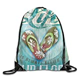 NUTOLIP Beam Mouth Backpack Life is Better in Flip-Flops Knapsack Backpack,Novelty Personality Travel Bag-17*14 inch