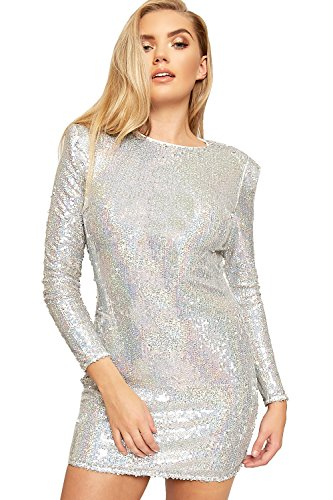 Silber Mini Pailletten Kleid (WEARALL - Damen Lang Hülle Paillette Glanz Liniert Damen Bodycon Mini Party Kleid - Silber Grau -)
