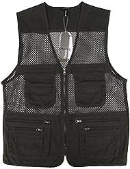 Zicac Gilet de pêche en maille multipoches veste coton sans manches pour Camping Chasse Pêche Photographie
