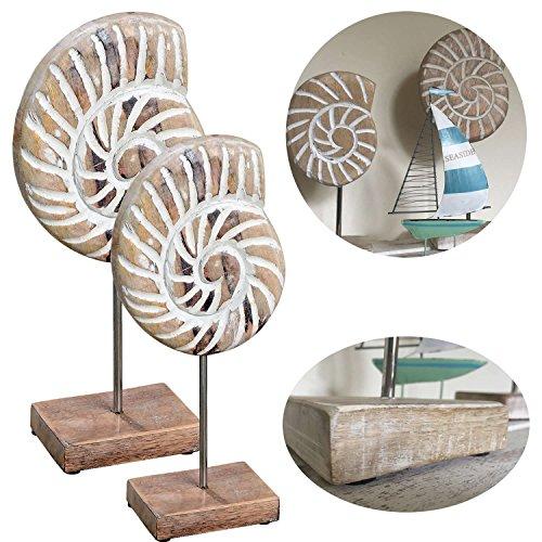 LS-LebenStil LS Design 2X Mango Holz Deko Objekt Muschel mit Sockel Skulptur Maritim Set 2 Ständer