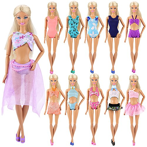 Miunana 5 Sets Sommer Beach Badeanzug Strand Bikini Baden Badebekleidung Outfits Kleidung Sommerkleidung für Barbie Puppen