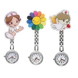 JSDDE Uhren 3X Krankenschwester FOB-Uhr Pflegeruhr Cartoon Sonnenblume Schwesternuhr Taschenuhr Quarzuhr Uhren Set
