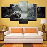 gwgdjk Poster in Tela Living Room Decor 5 Pezzi Wolf in The Mountain Paintings Wall Art HD Modulari Stampe Immagini di Volpe della Neve-30X40/60/80Cm,Without Frame