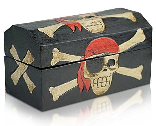 Brynnberg - Piraten Schatztruhe Aufbewahrungsbox für Kinder Spielzeugkiste (Schwarz, L 39x21x20cm)