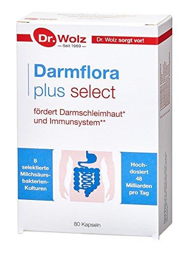 Darmflora plus select Dr. Wolz | hochdosierte Bakterienkulturen 48 Mrd/Tag | 8 Milchsäurebakterien | widerstandsfähige, selektierte Milchsäurebakterien | 80 Kapseln