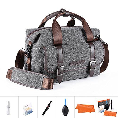 K&F Concept Kameratasche Messenger Tasche Fototasche für eine Systemkamera und Zwei Objektiv M (inkl. 5 in 1 Reiniungsset, Schultergurt)