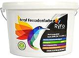 RyFo Colors Acryl Fassadenfarbe 12,5l (Größe wählbar) - weiße Außen-Farbe-Dispersion, Reinacrylat Basis, wasserabweisend, hohe Deckkraft, höchster Wetterschutz, lösemittelfrei, weiß