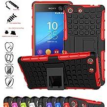 Sony Xperia M5 Funda,Mama Mouth Heavy Duty silicona híbrida con soporte Cáscara de Cubierta Protectora de Doble Capa Funda Caso para Sony Xperia M5 E5653 E5603 E5633 E5643 E5606,Rojo
