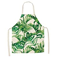 Juabc European and American green plant apron sleeveless cotton linen apron kitchen apron kids apron