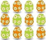 12x Farbige Ostereier Pastell Farben aus Kunststoff PlastikOstereier Eier Kunstoffeier Plastikeier aus Plastik, Kunststoff zum Dekoration Deko an Ostern zum Aufhängen Osterdeko Osterdekoration Frühlingsdeko Aufhänger((12x Stück Blumen)