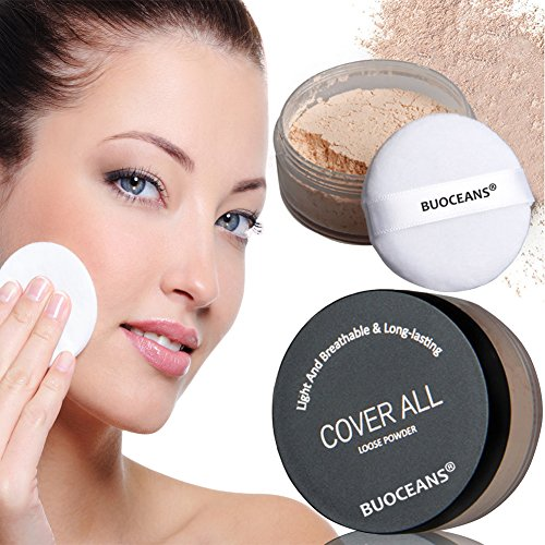 Make up Puder, Loose Powder, Mineral Powder, Transparentes Gesichtspuder, ✔ Oil-control ✔ Natural & innovative Make up ✔ vegan ✔ Naturkosmetik ✔ Teint Kosmetik Gesicht, Light beige(55 g)