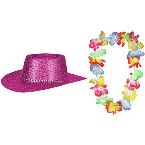 Texas Westernhut Party Hut Sheriff Fasching Masken Perücke Maske - Cowboyhut Glitzer Look Fuchsia Pink ( 1 Hut und 1 Kette )