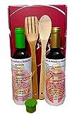 Kochen Kit mit Weißwein , Chardonnay 37,5 cl. und Sauvignon Blanc 37,5 cl, Holzlöffel , Silikonkappe , Rezepte für Fisch Kochen und weißem Fleisch.