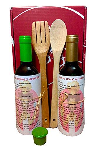Kit cottura con vino bianco, Chardonnay 37,5 cl. y Sauvignon Blanc 37,5 cl, Cucchiai di legno, Tappo in silicone, Ricetta italiana per cucinare pesce e carni bianche