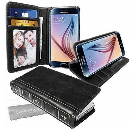 Stylebitz / Klassische Vintage-Lederhülle in Buchoptik SCHWARZ PU mit Standfuß für Samsung Galaxy S6 inklusive Stylebitz Reinigungstuch