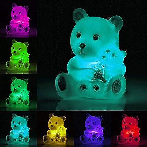 1Pcs TAN Veilleuse Lampe Nuit LED 7 Couleurs Decoration en forme de l'Ours