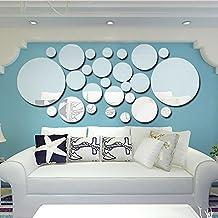 Azanaz 26 Stück Spiegelfliesen Selbstklebend, Rund/Kreis Spiegel  Wandspiegel Wandspiegel Fliesenspiegel Klebefliesen Wandaufkleber Aufkleber