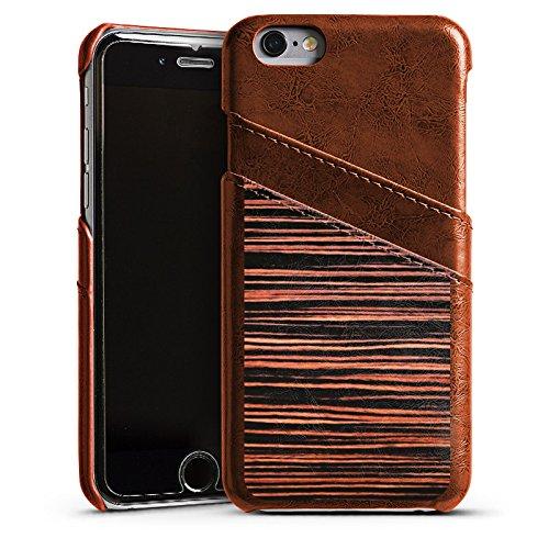 Apple iPhone 4 Housse Étui Silicone Coque Protection Sol en bois Grain Look bois Étui en cuir marron