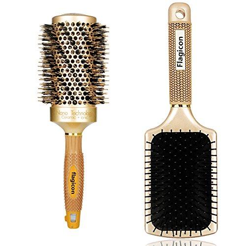Runde Haarbürste Nano Thermische Keramik-Fass mit Natürlichen Wildschweinborsten zum Föhnen, Stylen der Frisur, zum Richten, erhöht das Haar-Volumen und Bringt Glanz ,1.8 Zoll +Paddel-Bürste