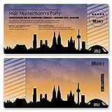 (20 x) Einladungskarten Geburtstag Skyline Köln Dom Party Ticket Karte Einladungen