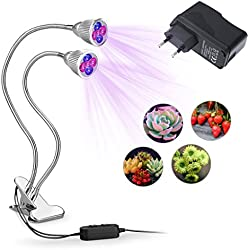Lampwin - Lámpara de Crecimiento LED Cultivo 10W para Plantas, Doble Focos, con 10 LEDs, Flexible 360 Grados, Bajo Consumo