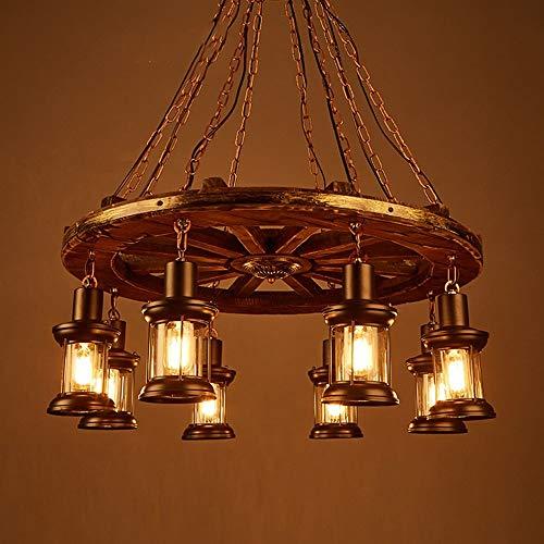 Preisvergleich Produktbild XP Kronleuchter-Solid Wood Disc Kronleuchter Retro Nostalgie Industrial Wind 8 Halter Lampen Wohnzimmer Restaurant Coffee Shop Themen Bar Beleuchtung