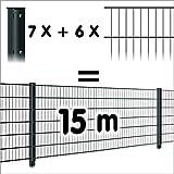 Zaun 15m: 6 Doppelstabmatten + 7 Pfosten 656, Höhe:63cm, Oberfläche:verzinkt - ohne Farbe
