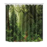 Best Leaf Curtains - LB forest jungle woods tree green leaves shower Review