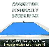 Cobertor, lona, cubierta,toldo,… de invierno para cubrir una piscina de 5 x 10 m. Medidas totales del cobertor: 5,30 x 10,30 m. - Incluye: Cobertor + Anclajes escamoteables 100% inox + Tensores de 8 mm + Saco de almacenaje. Color: Azul y negro en el reverso. Opacidad total – Forma: rectangular.