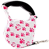 #7: SRI Imported High Quality Automatic Printed Retractable Dogs Lead Strap Leash (Medium, PINK DOG PAW PRINT)