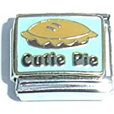 Cutie Pie with pie enamel charm - 9mm Italian charm fits Zoppini, Talexia, Boxing and Nomination style Italian charms