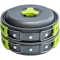 zhang-hongjun,Juego de Utensilios de Cocina al Aire Libre Utensilios de Cocina Ligeros y compactos Recipientes para ollas para Acampar Senderismo Mochilero Picnic(Color:Verde)