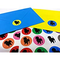 60 Multicoloured Dachshund / Sausage Dog Silhouette High Quality Envelope Seal Stickers